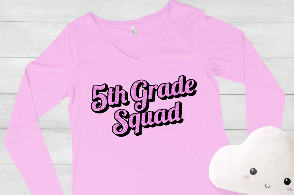 Girl's shirt with the 5th Grade Squad svg cut file