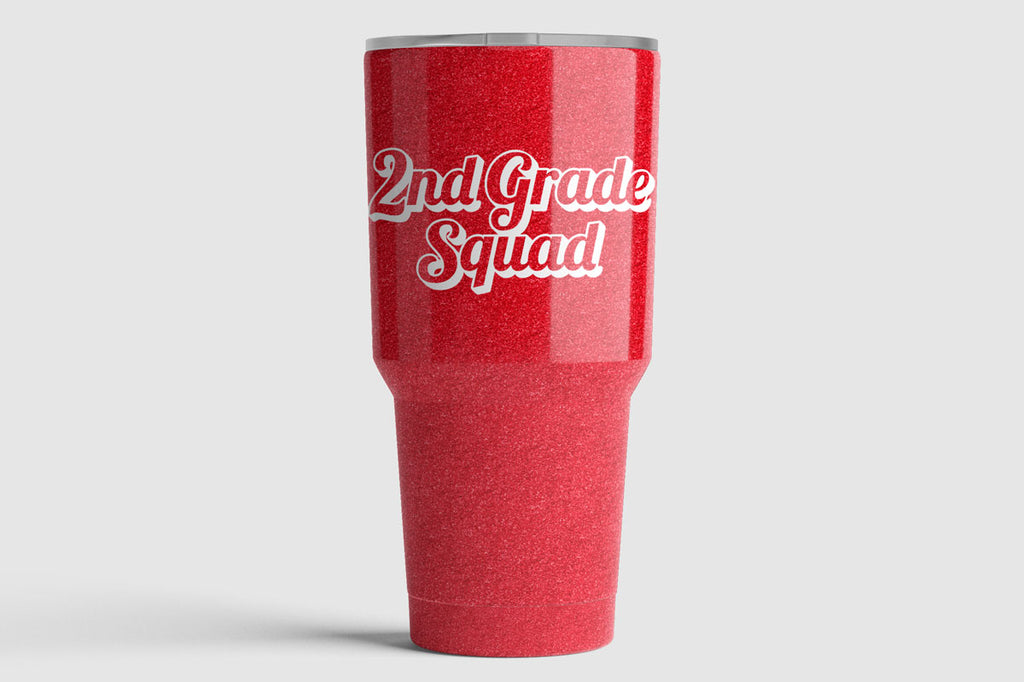 Glitter tumbler with the 2nd Grade Squad svg cut file