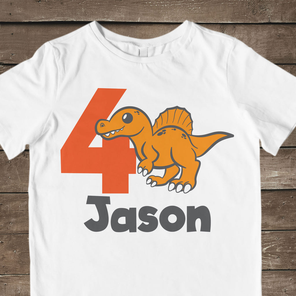 Spinosaurus svg cut file used for a 4th birthday shirt