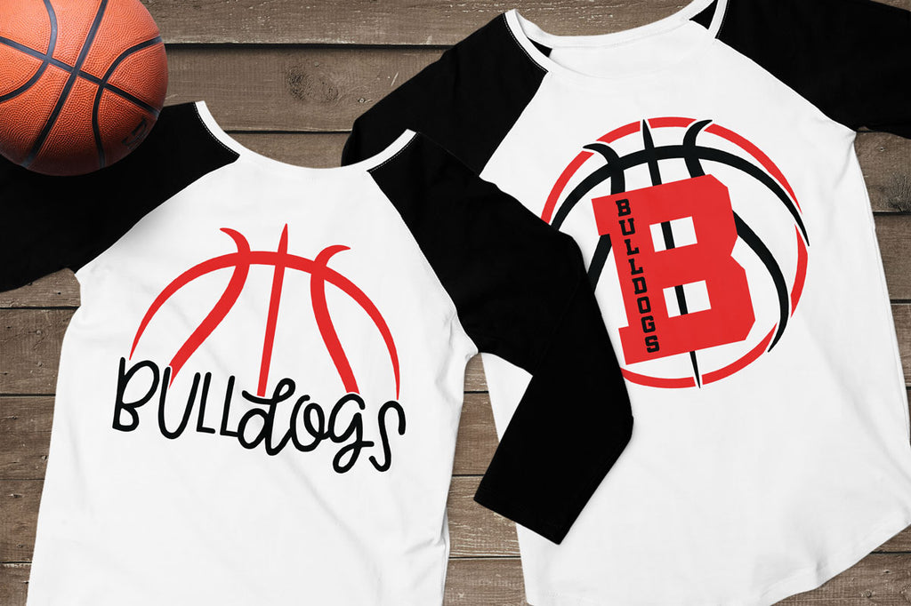 Women's shirts using the whole basketball from the Team Basketball svg cut file set with and without the optional border