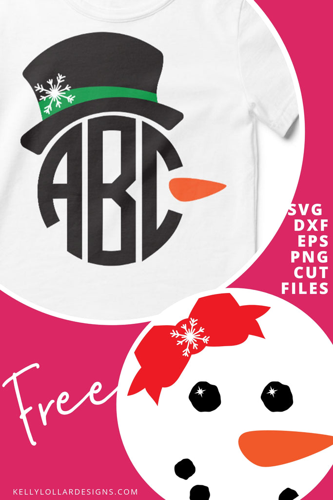 Boy & Girl Snowman Face SVG DXF EPS PNG Cut Files | Free for Personal Use