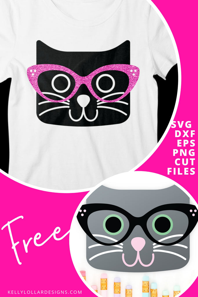 Cat with Glasses SVG DXF EPS PNG Cut Files | Free for Personal Use