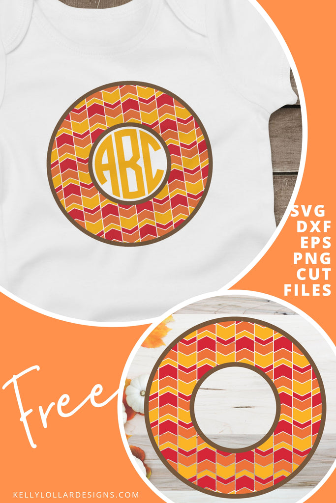 Fall Monogram Frame SVG DXF EPS PNG Cut Files | Free for Personal Use