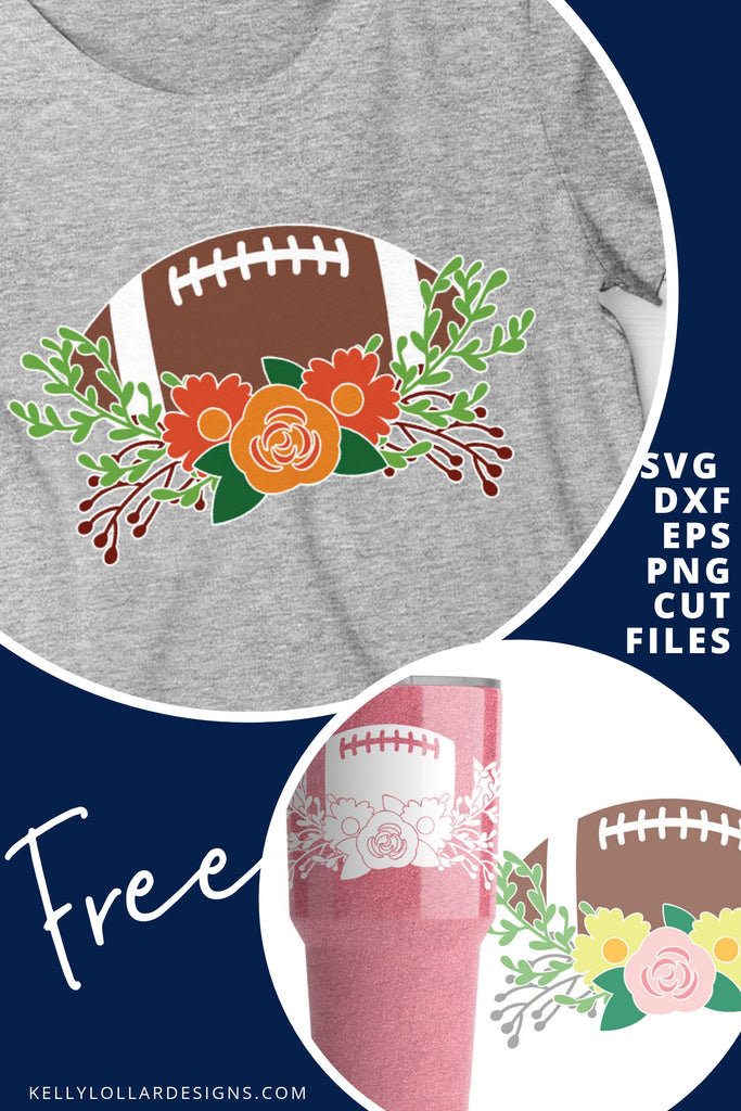 Football with Flowers SVG DXF EPS PNG Cut Files | Free for Personal Use