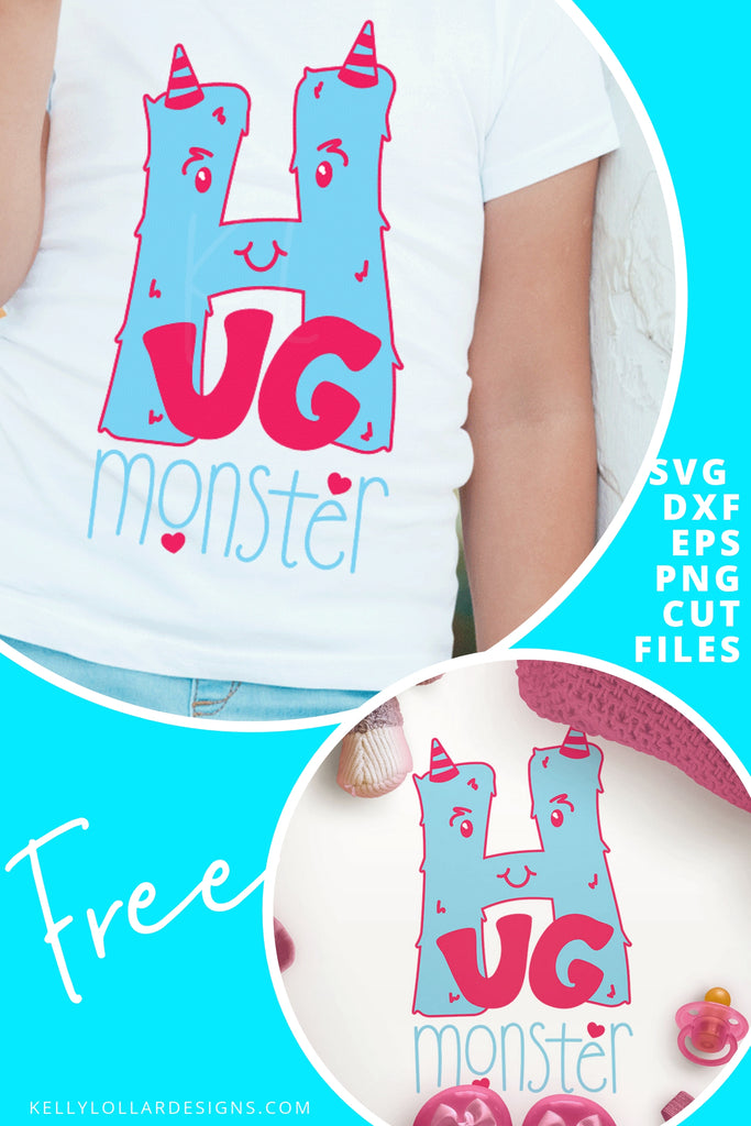 Hug Monster SVG DXF EPS PNG Cut Files | Free for Personal Use
