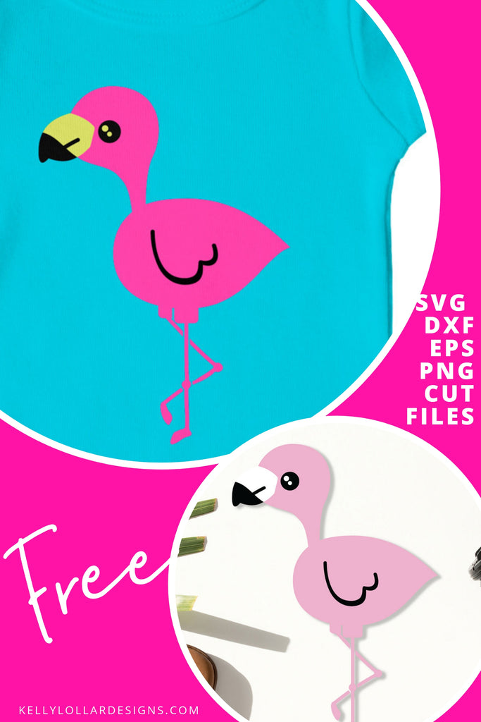 Kawaii Flamingo Character SVG DXF EPS PNG Cut Files | Free for Personal Use