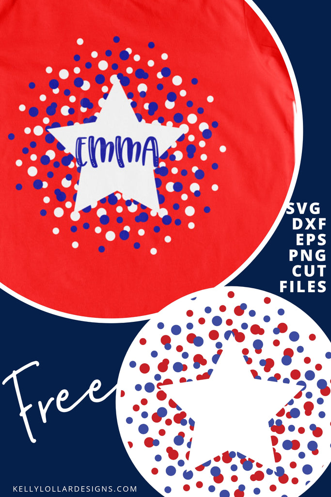 Polka Dot Star Frame SVG DXF EPS PNG Cut Files | Free for Personal Use
