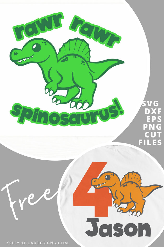 Rawr Rawr Spinosaurus SVG DXF EPS PNG Cut Files | Free for Personal Use