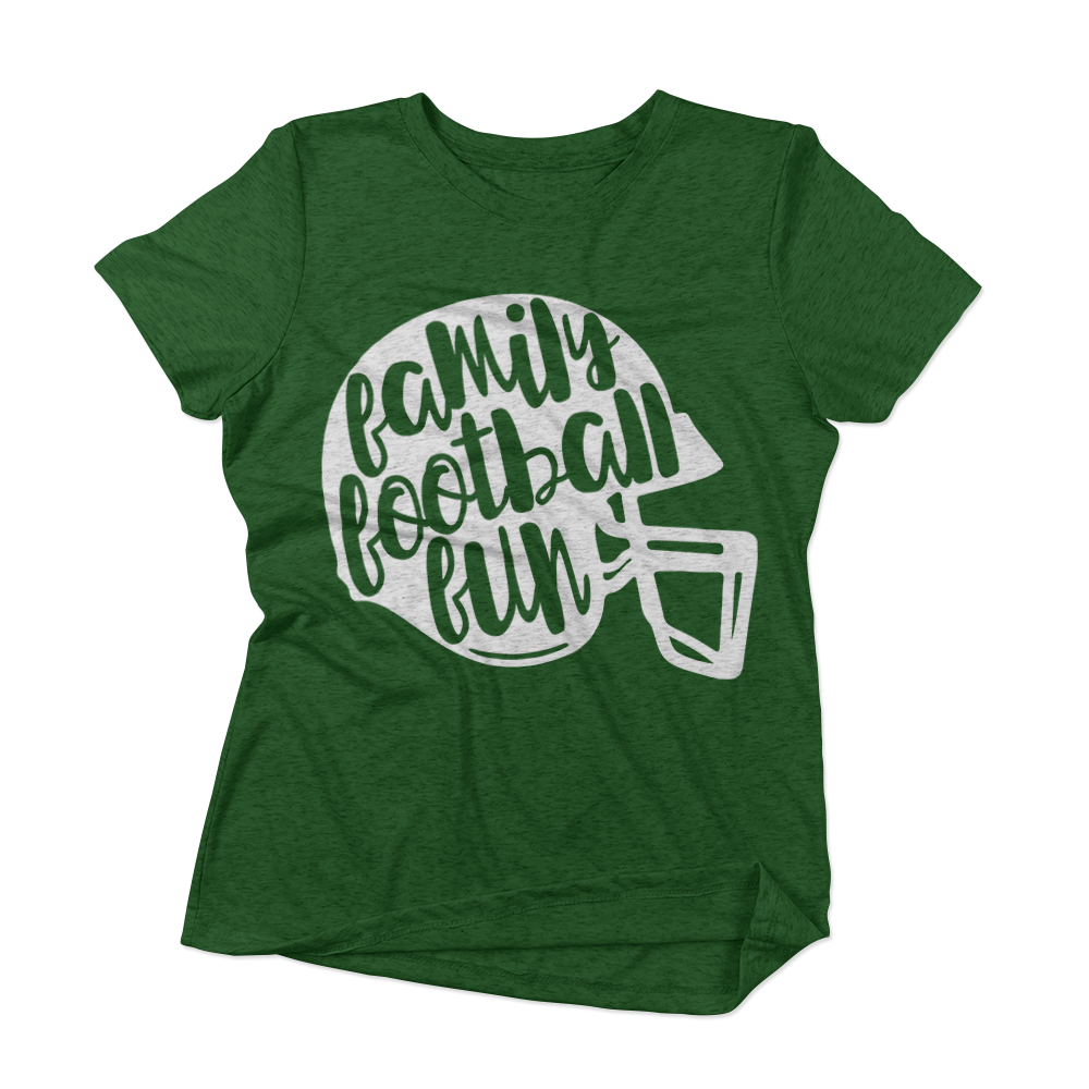 Family Football Fun svg on a sample t-shirt