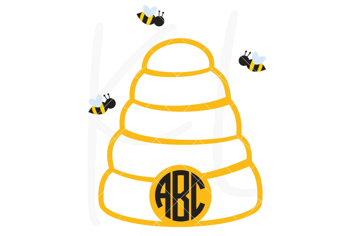 Beehive SVG Cut File Bubbly Beehive with Buzzing Bees | SVG DXF PNG Cut Files 1 file for each format optional solid base layer bees welded separately add a monogram to use as a monogram