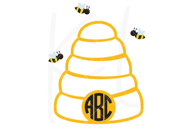 Beehive svg file used as a monogram frame without the solid base layer