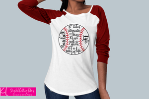 Outline version of the Baseball Life svg cut file used for a Baseball Mom raglan shirt