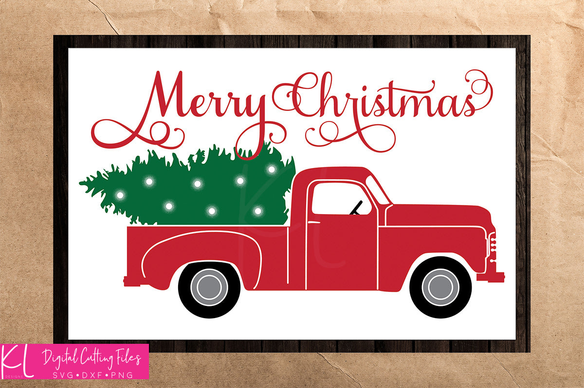 Framed sample of the Side View Vintage Red Christmas Truck with added Merry Christmas and Christmas Lights - Included in the Side - Solid svg pack