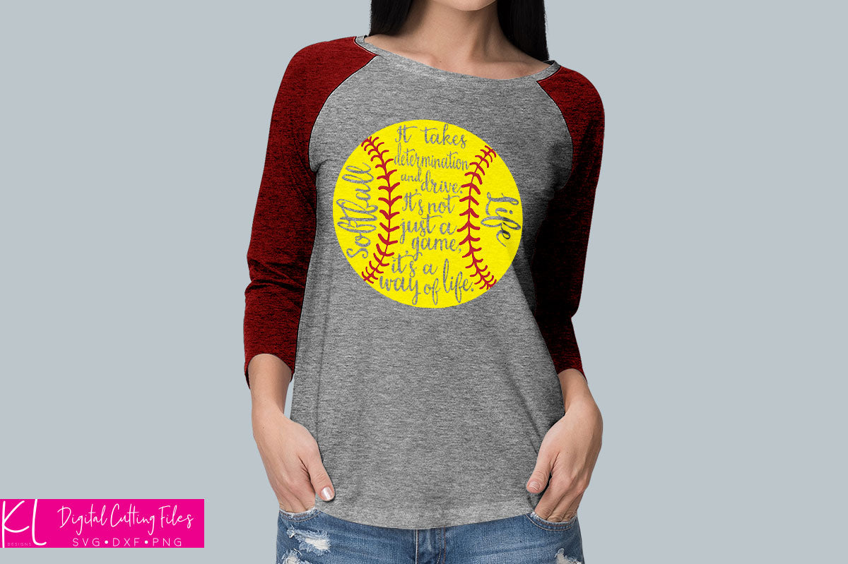 Softball Mom raglan shirt made with the knockout version of the Softball Life svg file
