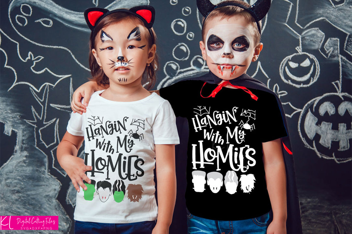 Hangin' with My Homies | SVG DXF EPS PNG Cut Files Halloween Quote with Frankenstein's Monsters, Vampire and Werewolf Silhouettes for Kid's Shirts | SVG DXF EPS PNG Cut Files Halloween's not complete without Frankenstein svg, vampire svg and werewolve svg.