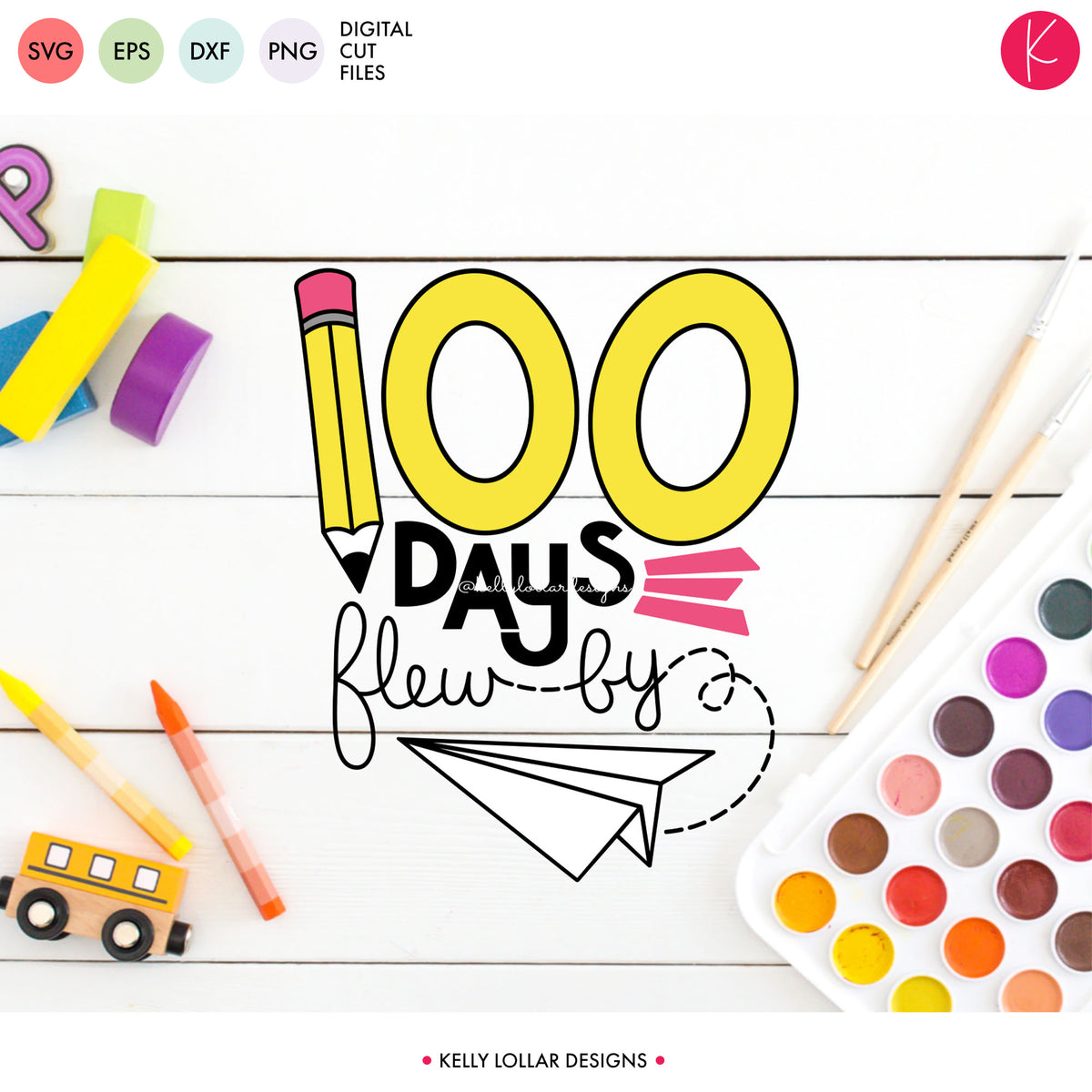100 Days Flew By | SVG DXF EPS PNG Cut Files