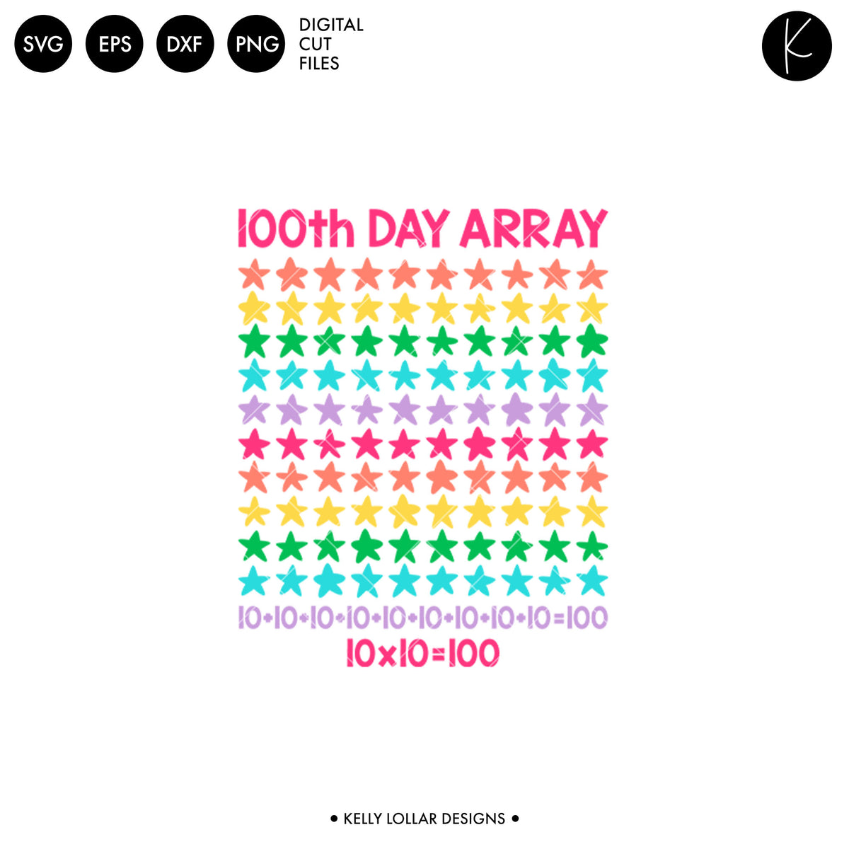 100th Day Array | SVG DXF EPS PNG Cut Files