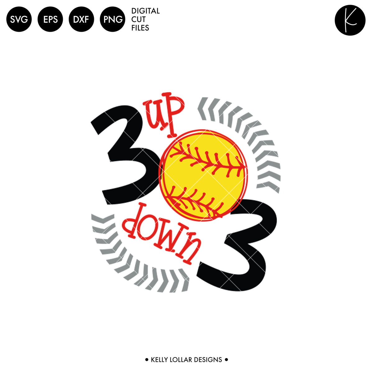 3 Up 3 Down Baseball or Softball | SVG DXF EPS PNG Cut Files