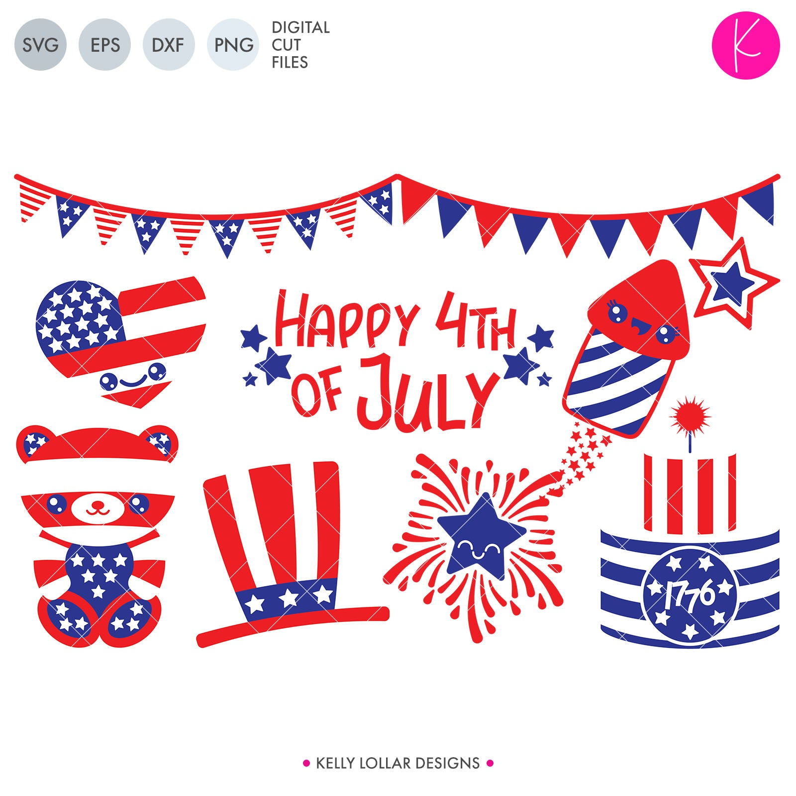 4th of July Character Pack | SVG DXF EPS PNG Cut Files