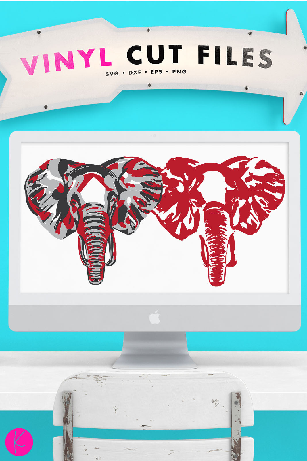 Elephant Head | SVG DXF EPS PNG Cut Files Digitally Painted Elephant Head in Three or One Layer for Shirts and Decor | SVG DXF EPS PNG Cut Files  Painted elephant adapted for use with vinyl for elephant lover shirts