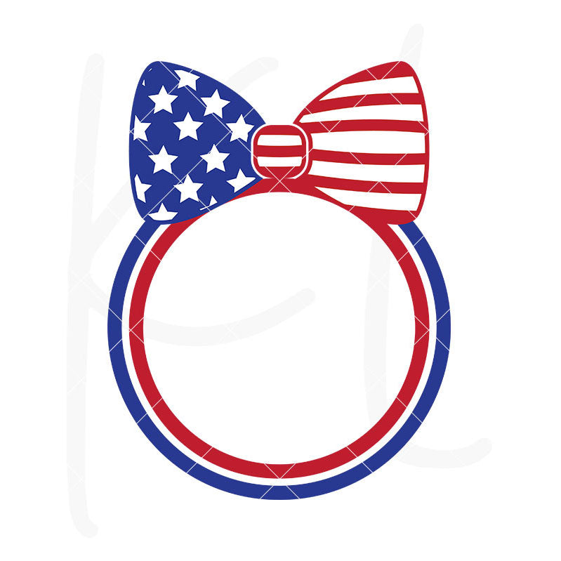 American Flag Bow Monogram Frame | SVG DXF EPS PNG Cut Files