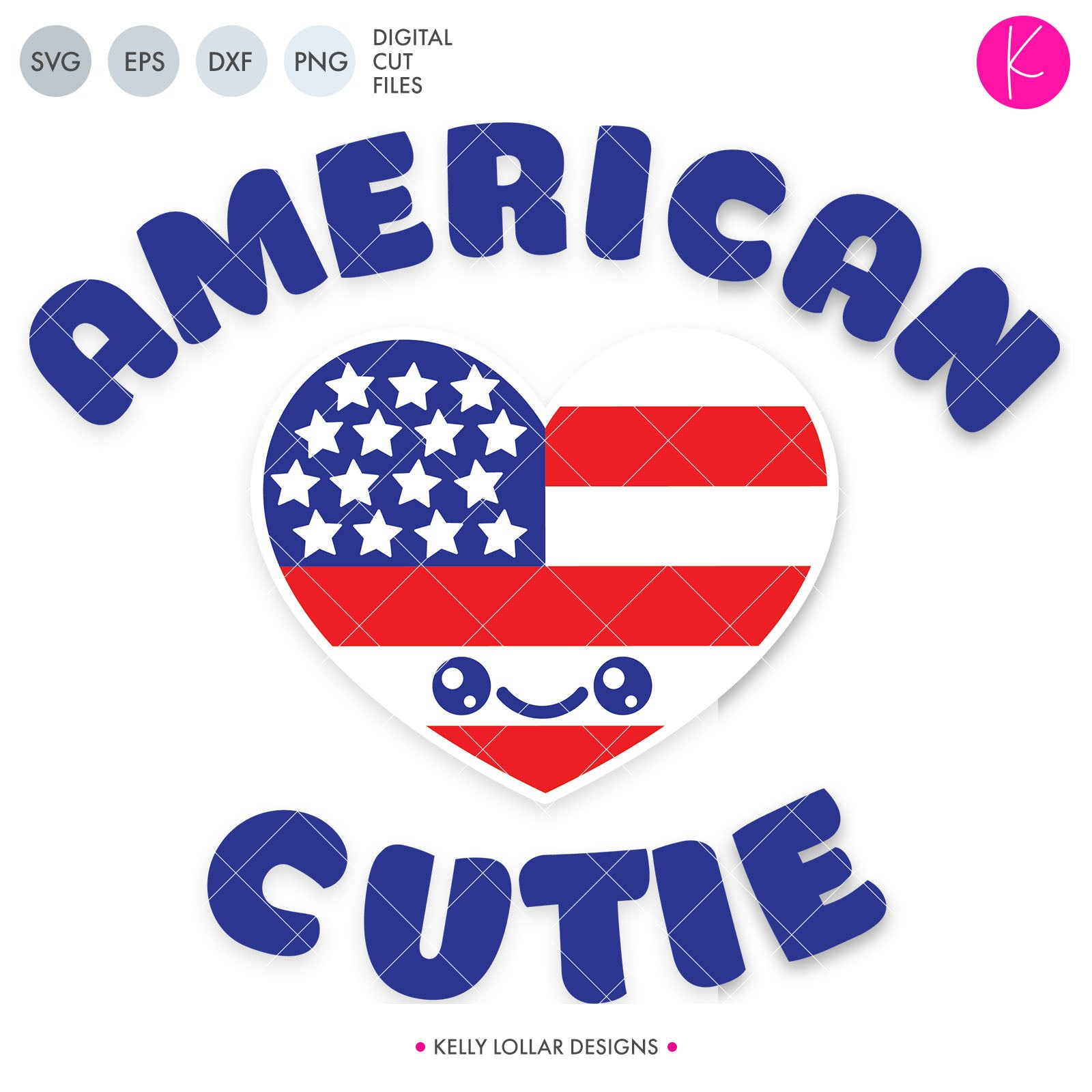American Cutie SVG Cut File Retro Quote with Smiling American Flag Heart Character for Baby and Toddler 4th of July Shirts | SVG DXF PNG Cut Files 2 files for each format version 1 -