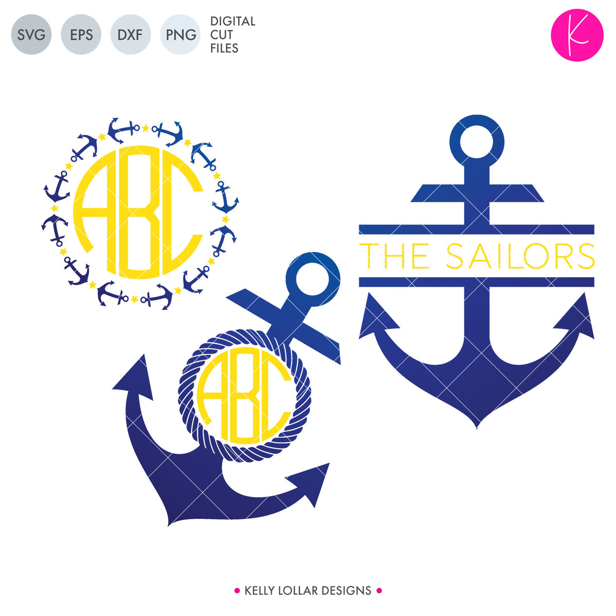 Anchor Monogram Pack 2 | SVG DXF EPS PNG Cut Files