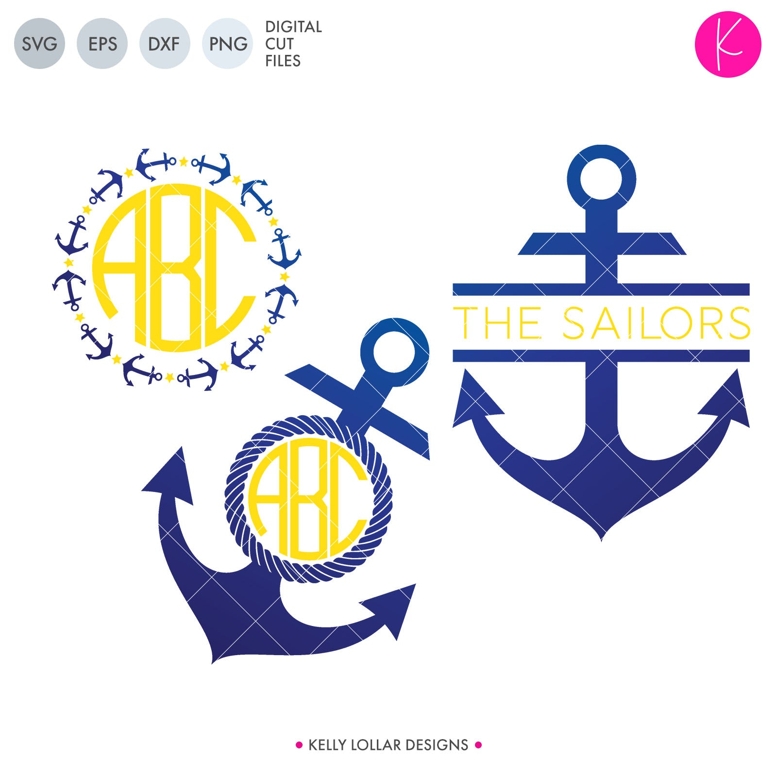 Anchor Monogram Pack 2 | SVG DXF EPS PNG Cut Files Set of 3 Nautical Themed Monograms - Star and Anchor Circle, Anchor with Rope Circle, Split Anchor | SVG DXF PNG Cut FilesLove a great anchor frame svg but need