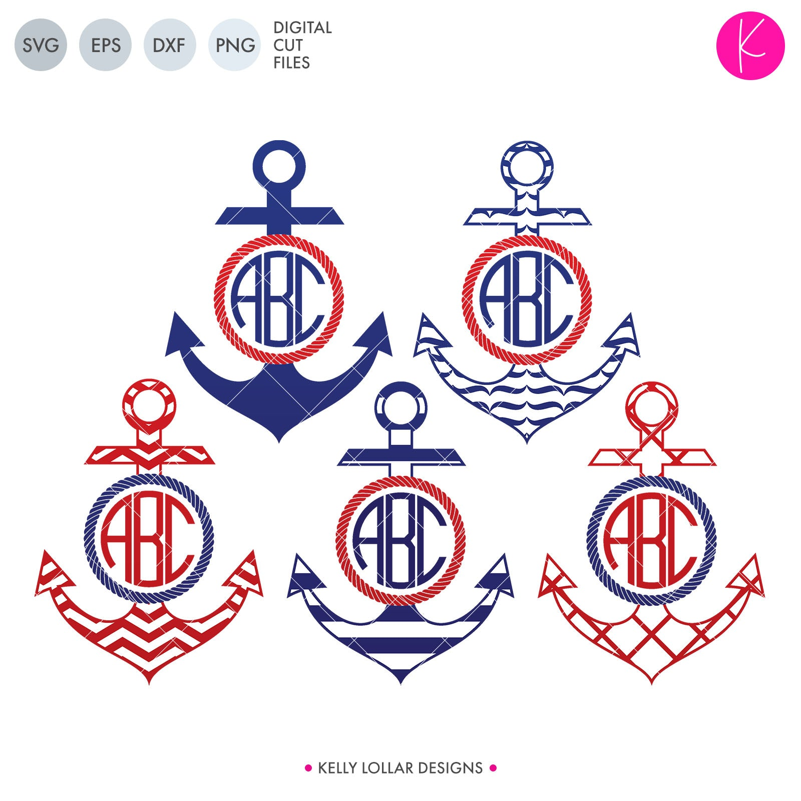 Anchor Monogram Pack | SVG DXF EPS PNG Cut Files