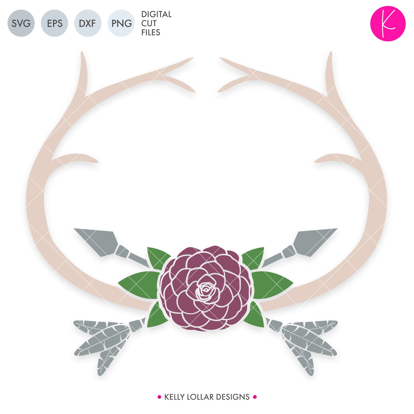Flower and Rounded Antler Frame | SVG DXF EPS PNG Cut Files Rounded Antler Monogram with Camilla Flower, Leaves and Feather Tipped Crossed Arrows | SVG DXF EPS PNG Cut Files You can't go wrong with a beautiful antler monogram svg for wedding,