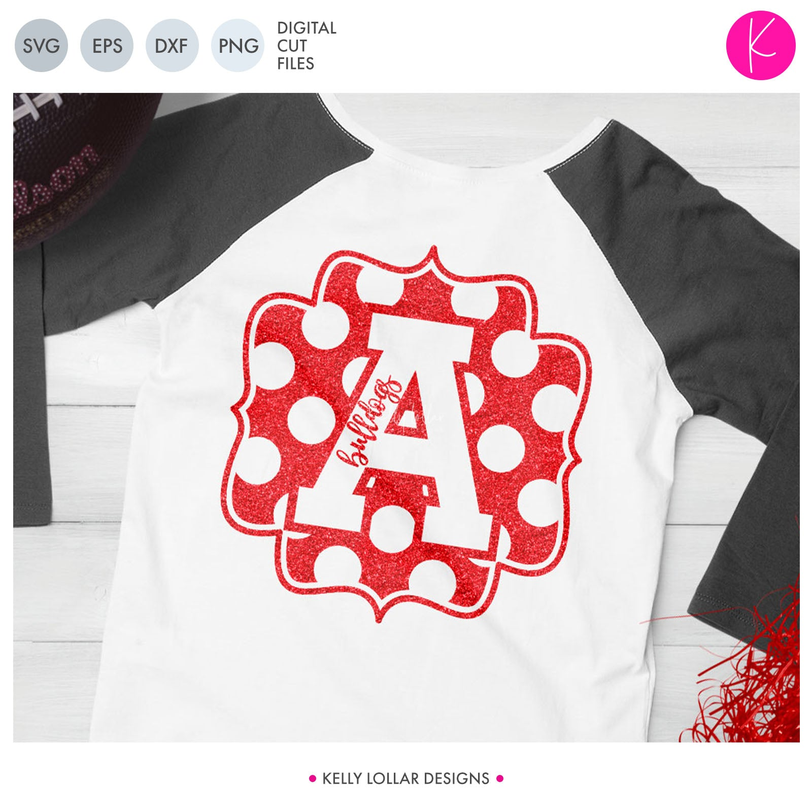 Athletic Letter Frames Pack | SVG DXF EPS PNG Cut Files Set of 26 Polka Dot Varsity Letter Frames for School Team Spirit Shirts, Tumblers and More | SVG DXF EPS PNG Cut Files Create you very own varsity monograms to