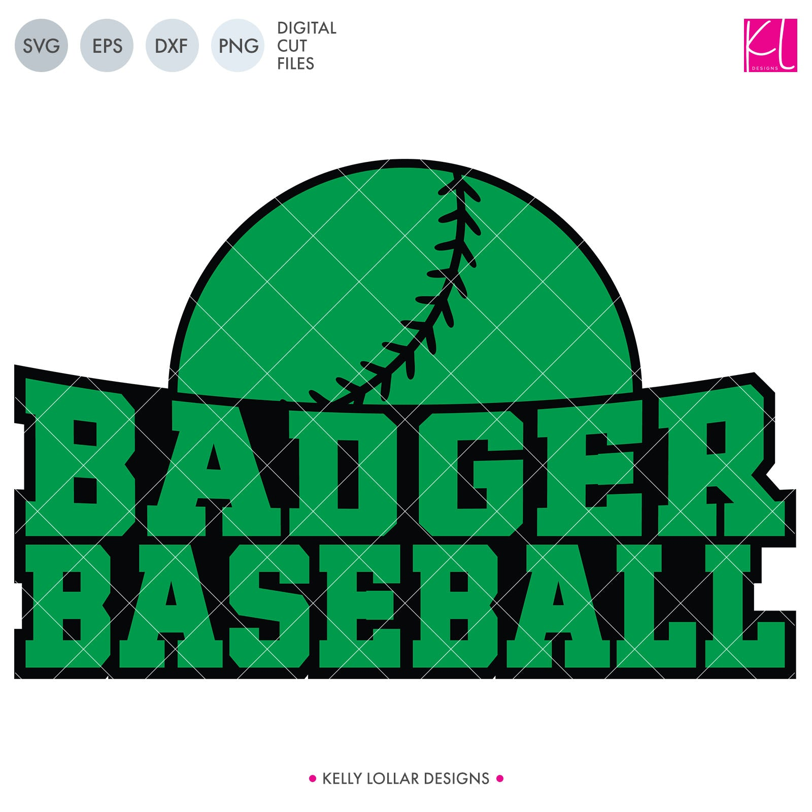 Badger Curved Baseball | SVG DXF EPS PNG Cut Files This unisex sports design is fit for the whole family with Badger Baseball curved under a half ball. This two-piece design is easy to use and great for customizing with