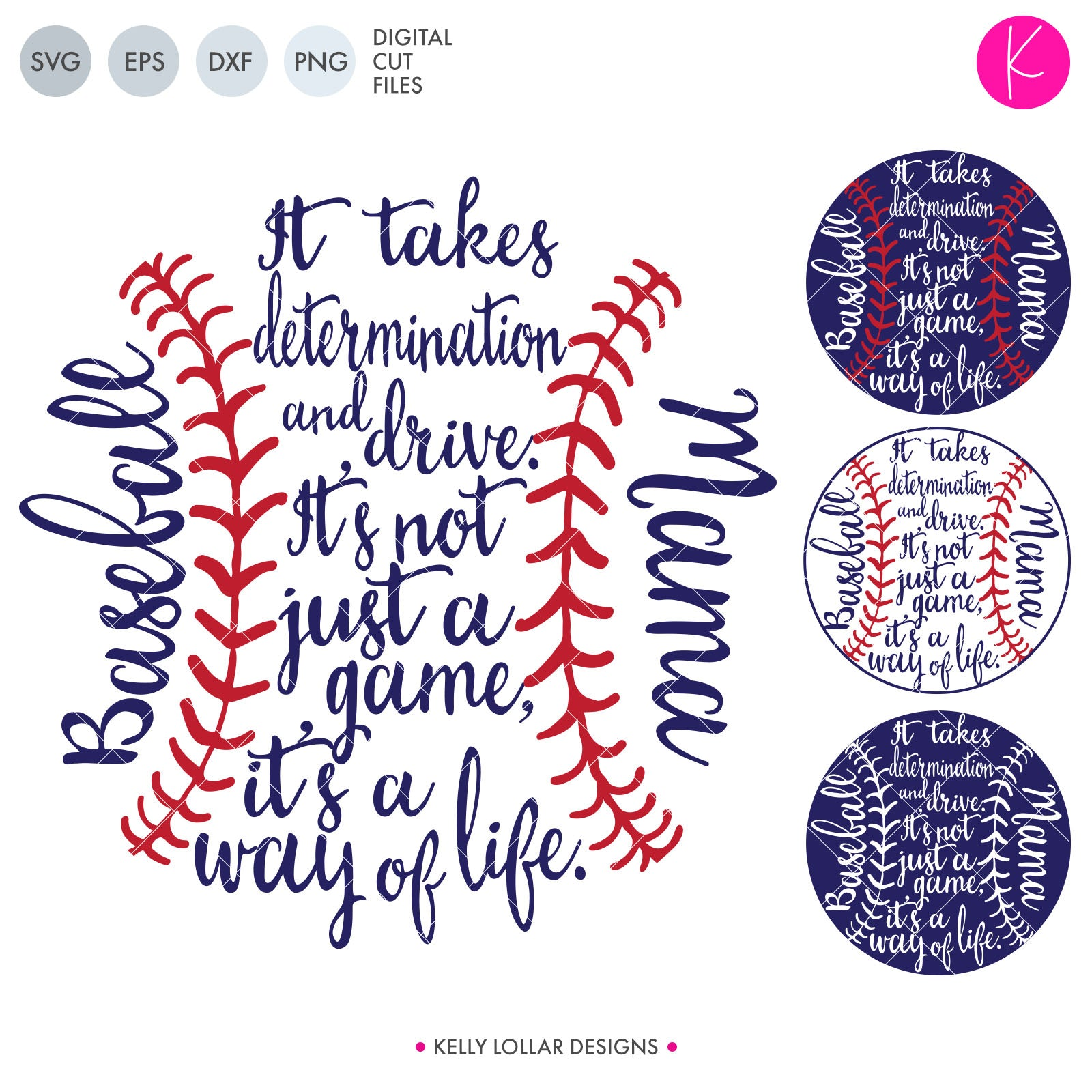 Baseball Mama | SVG DXF EPS PNG Cut Files Motivational Quote in the Shape of a Baseball with Stitches | SVG DXF PNG Cut Files  lettering and stitches only knockout with solid area under the stitches knockout with both lettering