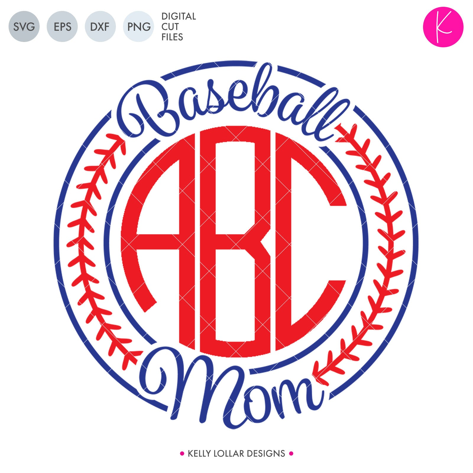 Baseball Mom Monogram Frame svg file for circle monograms with baseball stiches