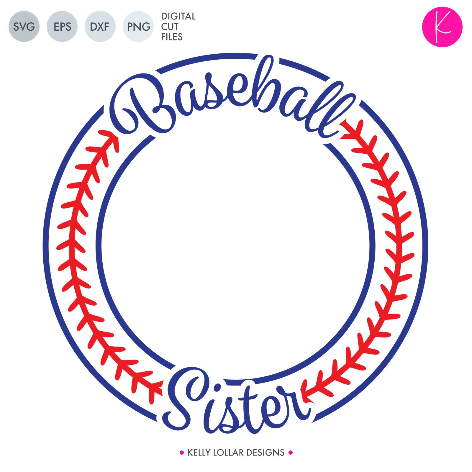 Baseball Sister Monogram Frame | SVG DXF EPS PNG Cut Files