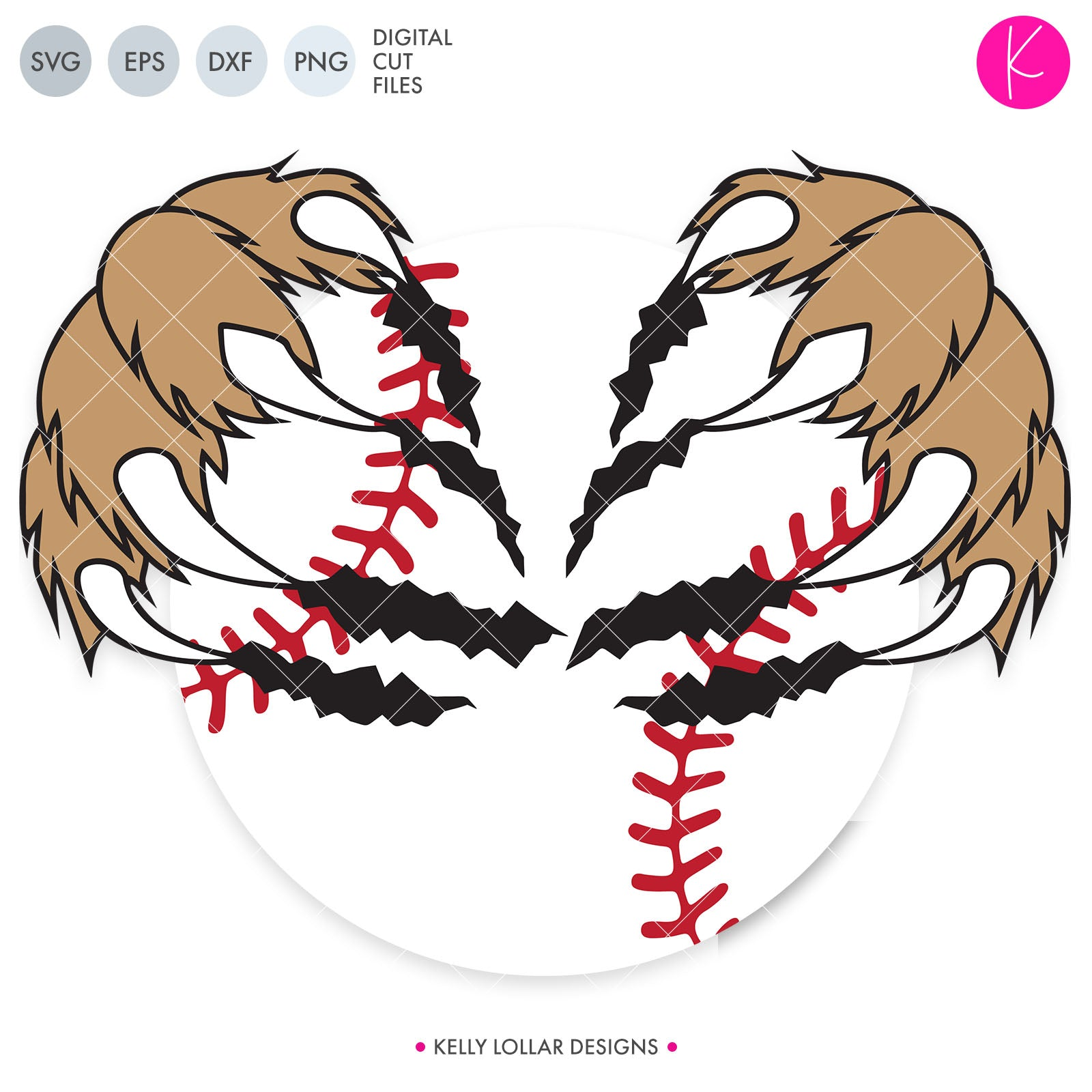 Baseball / Softball Claws | SVG DXF EPS PNG Cut Files Claws Ripping a Baseball or Softball for Tigers, Cougars, Panthers, Bears and More | SVG DXF PNG Cut Files 2 files for each format claws and ball attached version claws