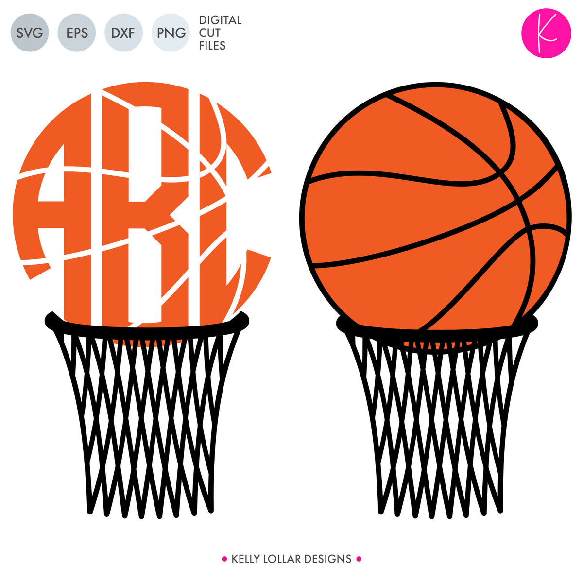 Basketball Hoop Monogram | SVG DXF EPS PNG Cut Files
