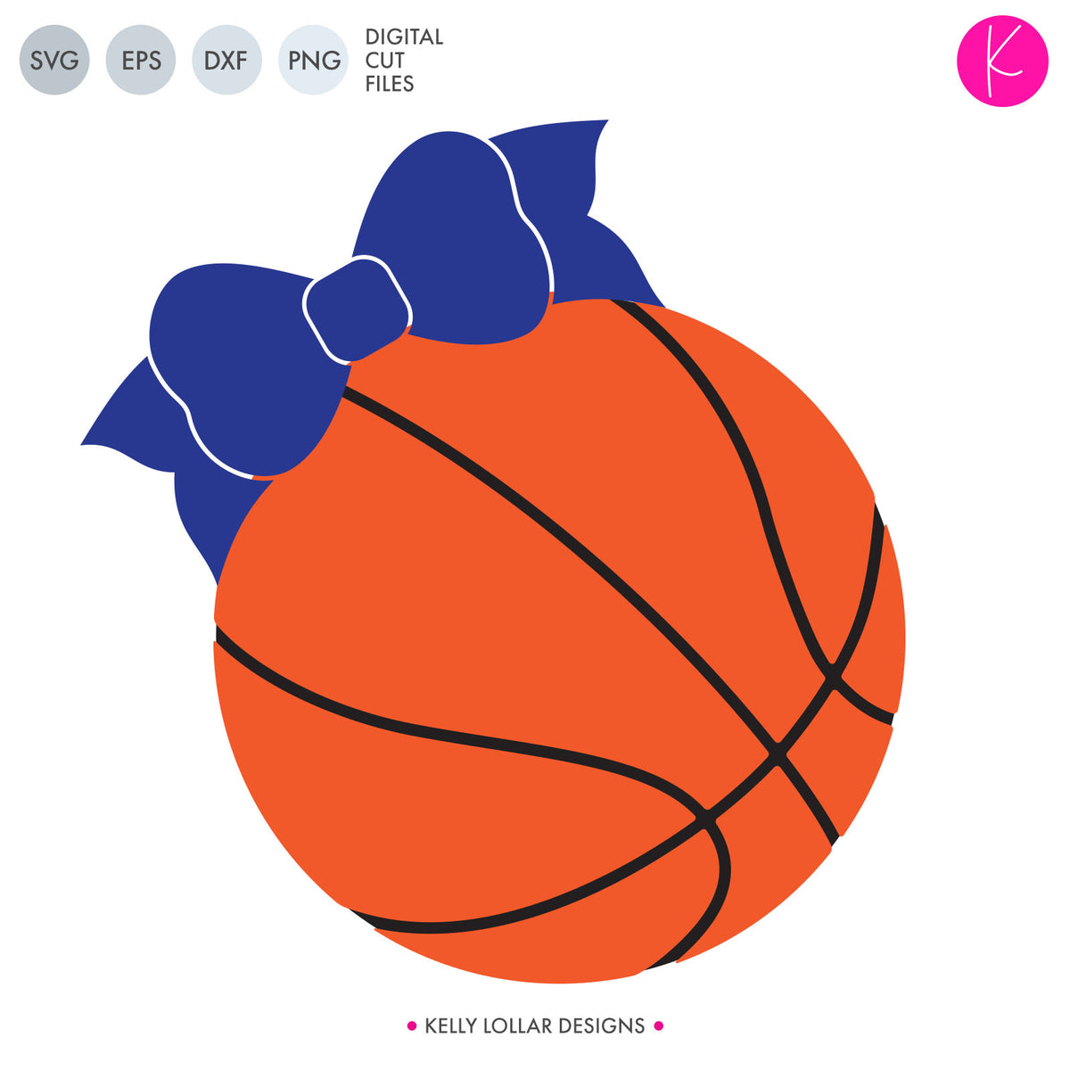 Basketball with Bow | SVG DXF EPS PNG Cut Files