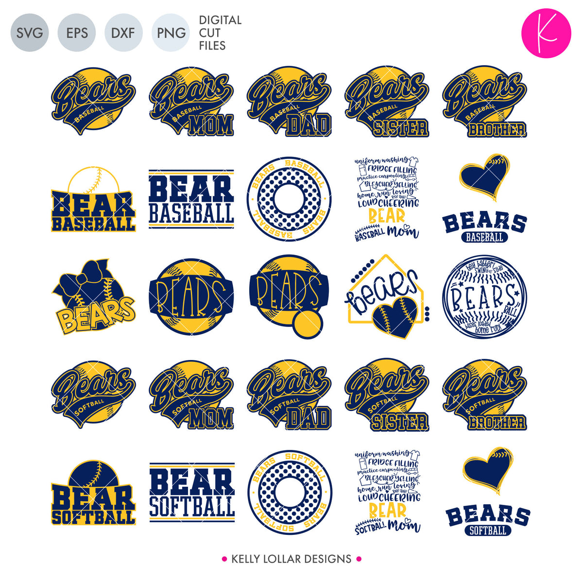Bears Baseball & Softball Bundle | SVG DXF EPS PNG Cut Files