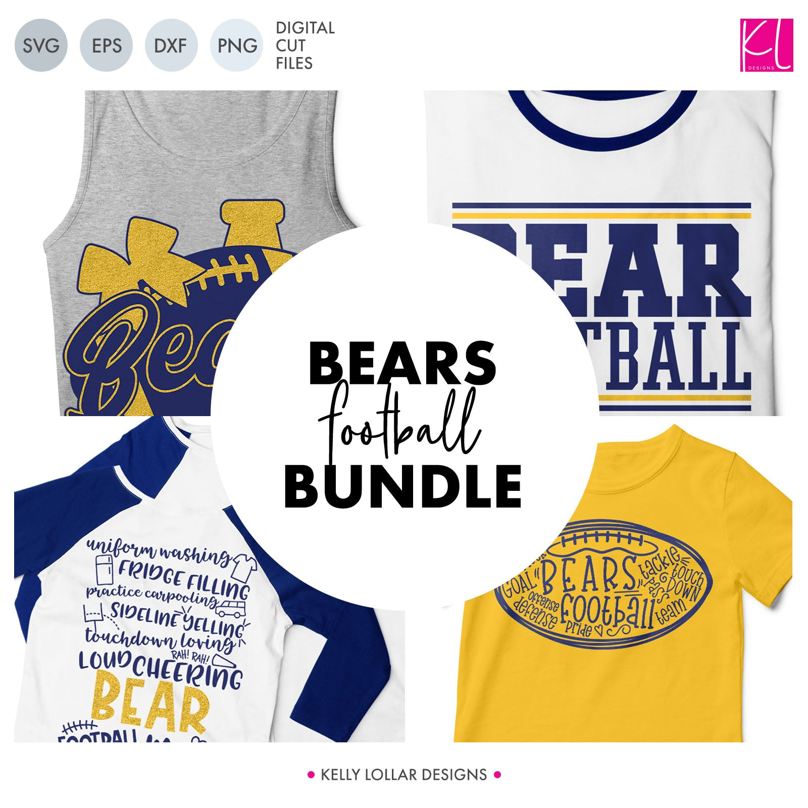 Bears Football Bundle | SVG DXF EPS PNG Cut Files