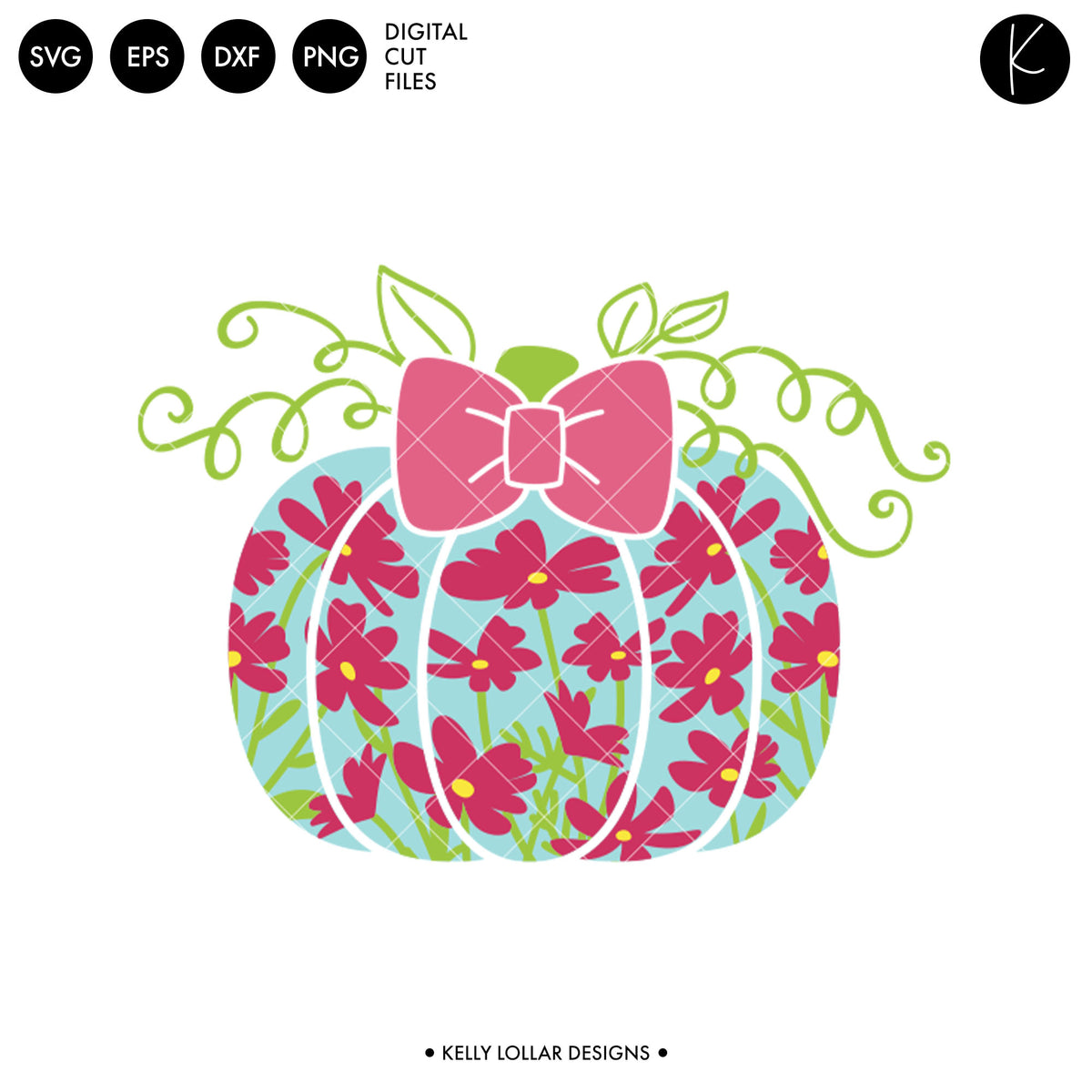 Floral Pumpkin with Bow | SVG DXF EPS PNG Cut Files