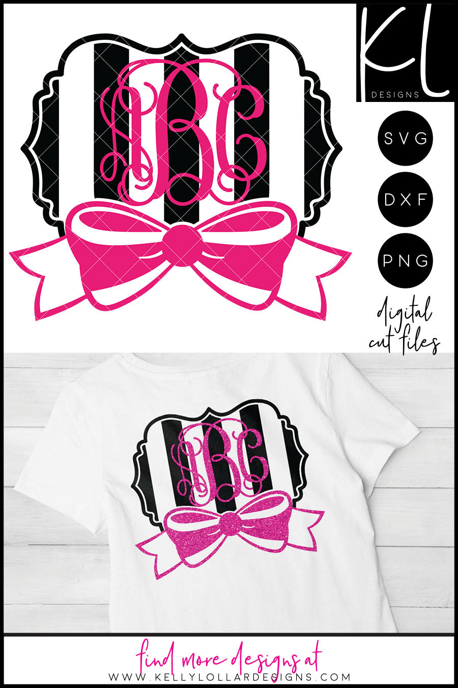 Striped Monogram with Bow | SVG DXF EPS PNG Cut Files Statement Monogram Frame with Bow and Wide Stripe Background for Vine Monograms or Names | SVG DXF EPS PNG Cut Files Get ready for an adorable new monogram with this
