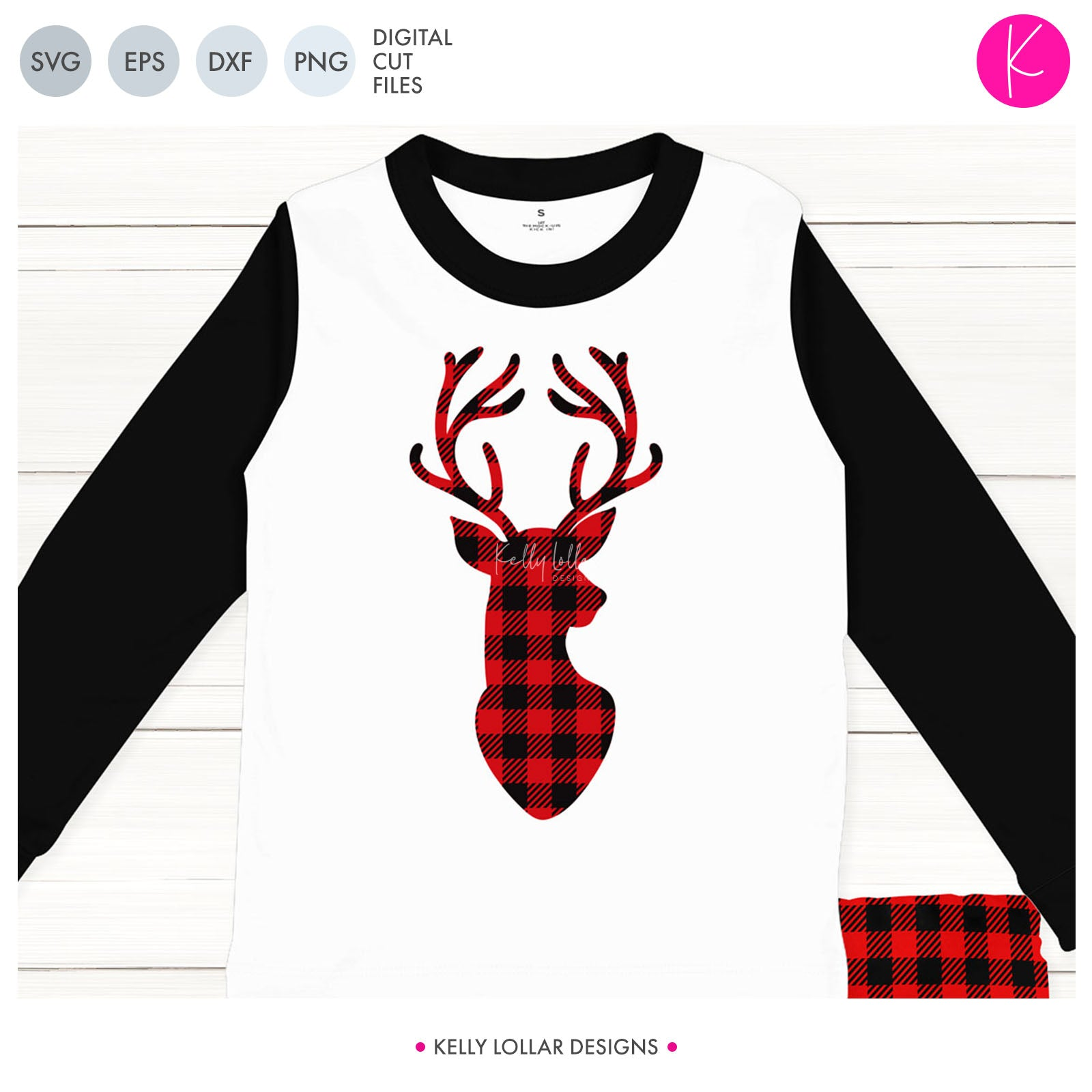 Buffalo Plaid Deer Bust | SVG DXF EPS PNG Cut Files Antlered Deer Bust with Buffalo Plaid Pattern Layer and Optional Bow for Christmas Shirt and Decor | SVG DXF PNG Cut Files 1 file for each format bow optional plaid