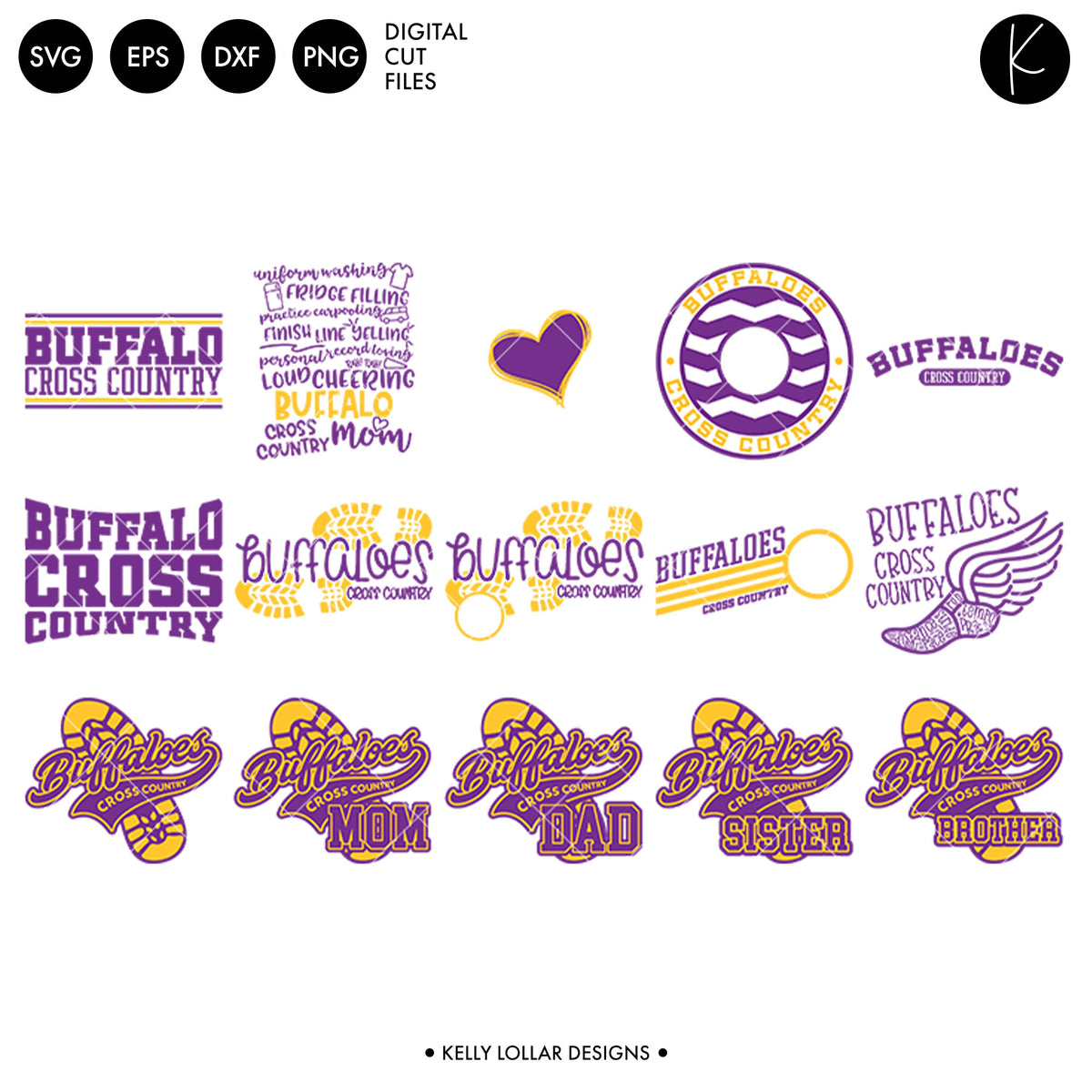 Buffaloes Cross Country Bundle | SVG DXF EPS PNG Cut Files