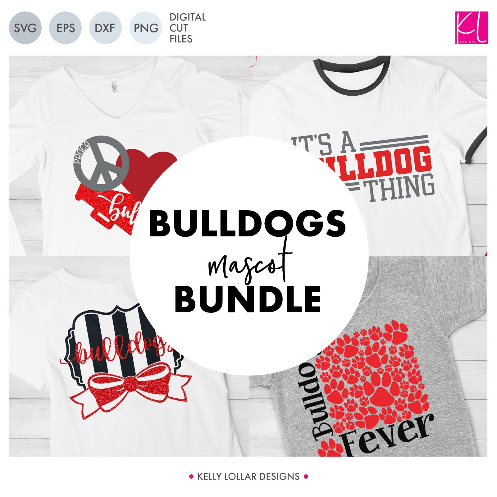 Bulldogs Mascot Bundle | SVG DXF EPS PNG Cut Files A perfect bundle for Bulldogs school spirit crafters! This set of 28 designs includes everything from cute and girly to unisex so you'll have a little something for everyone. Includes