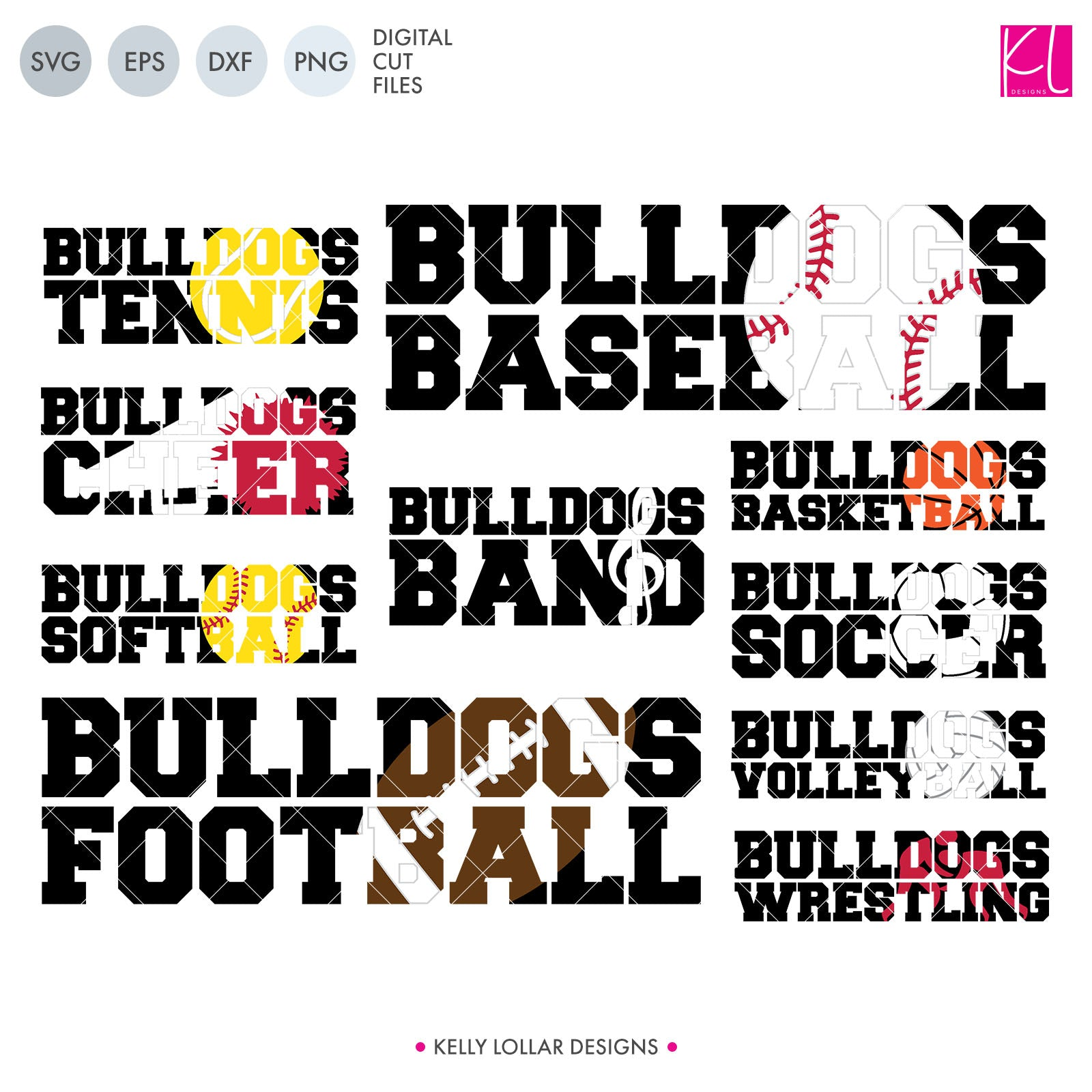 Bulldog Sports Pack | SVG DXF EPS PNG Cut Files