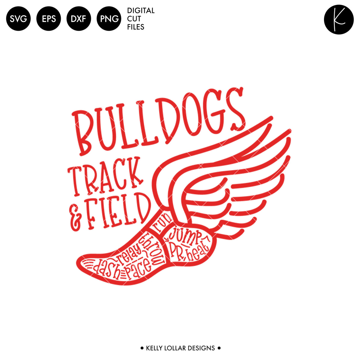 Bulldogs Track & Field Bundle | SVG DXF EPS PNG Cut Files