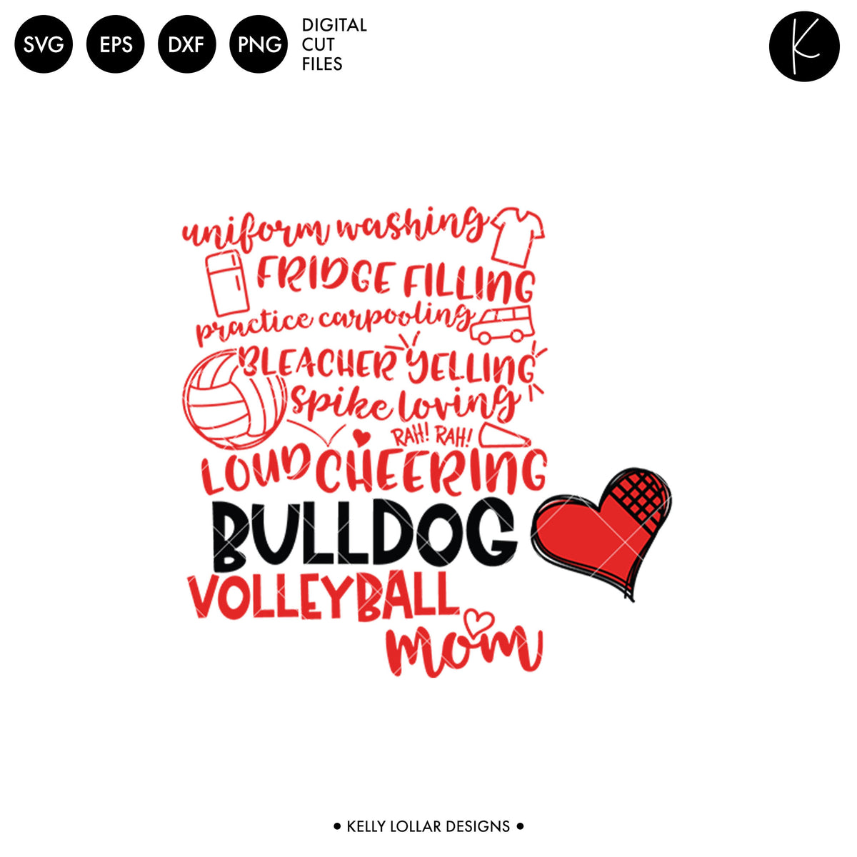 Bulldogs Volleyball Bundle | SVG DXF EPS PNG Cut Files