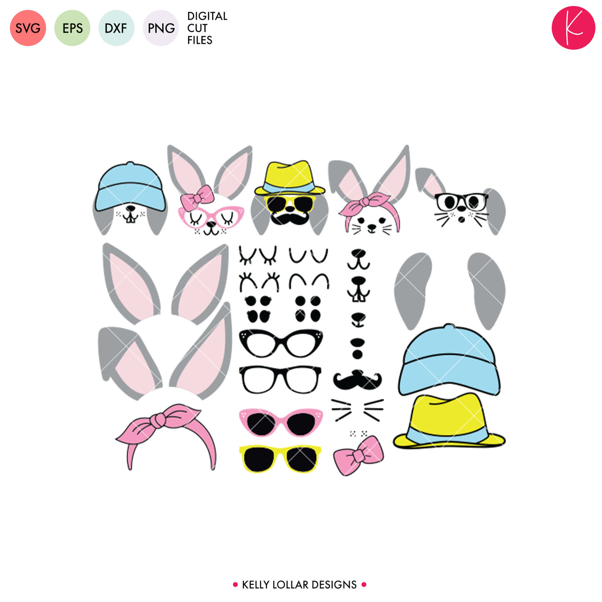 Bunny Face Mix and Match Kit | SVG DXF EPS PNG Cut Files