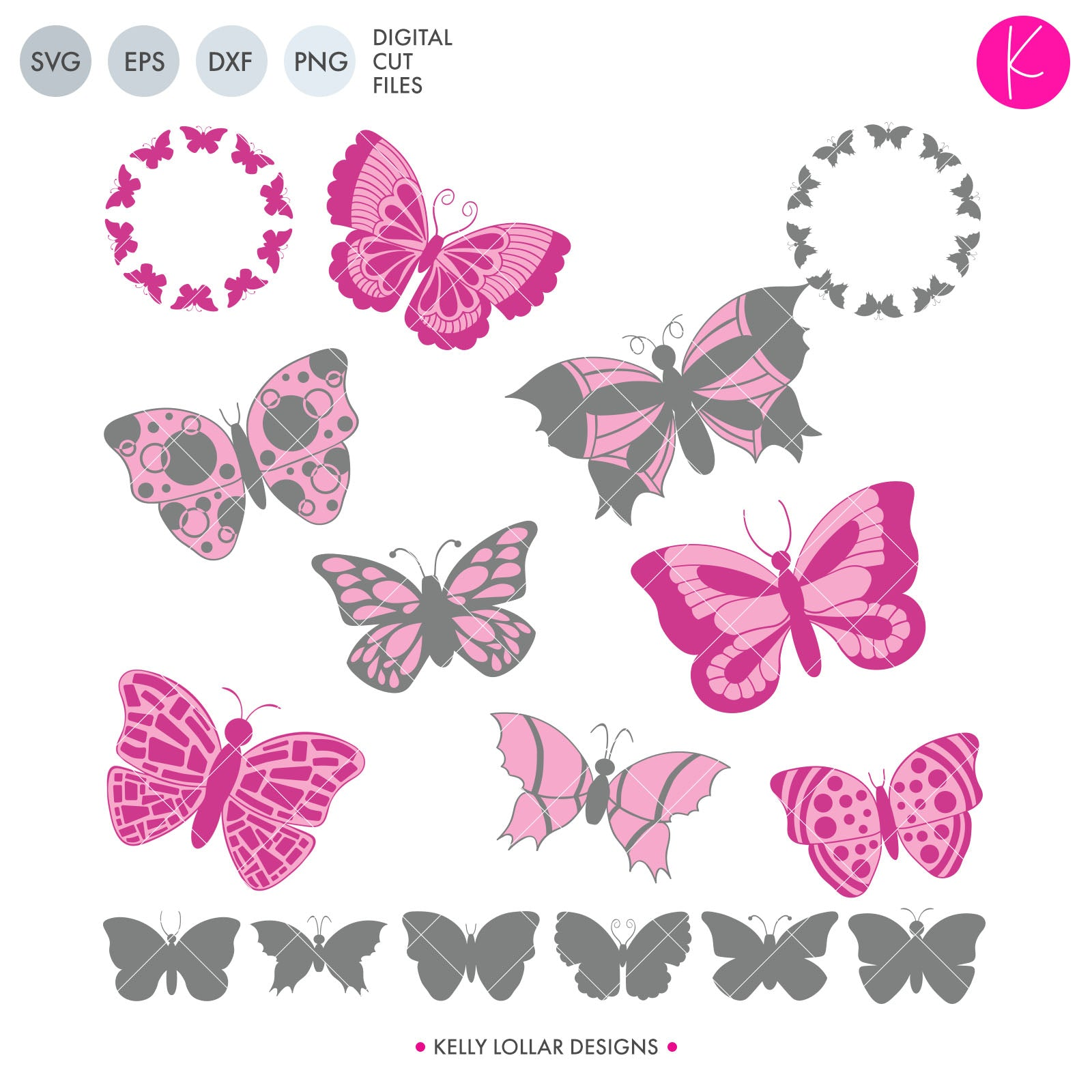 Butterfly Pack | SVG DXF EPS PNG Cut Files BUTTERFLY PACK | SVG DXF EPS PNG CUT FILES | Set of 16 Butterfly designs including silhouettes, detailed and monogram frames This 16 piece butterfly svg pack is a handy staple